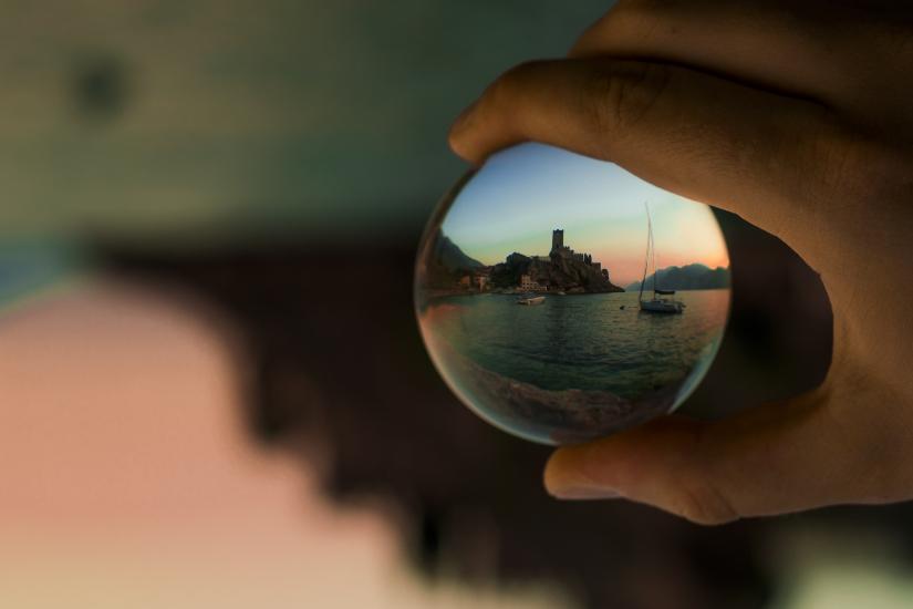 A castle into a bubble