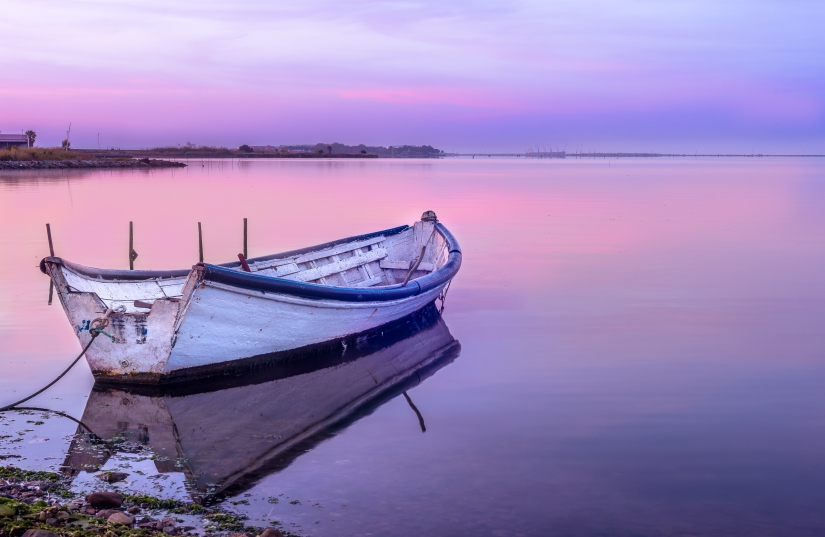 Boat on sunrise