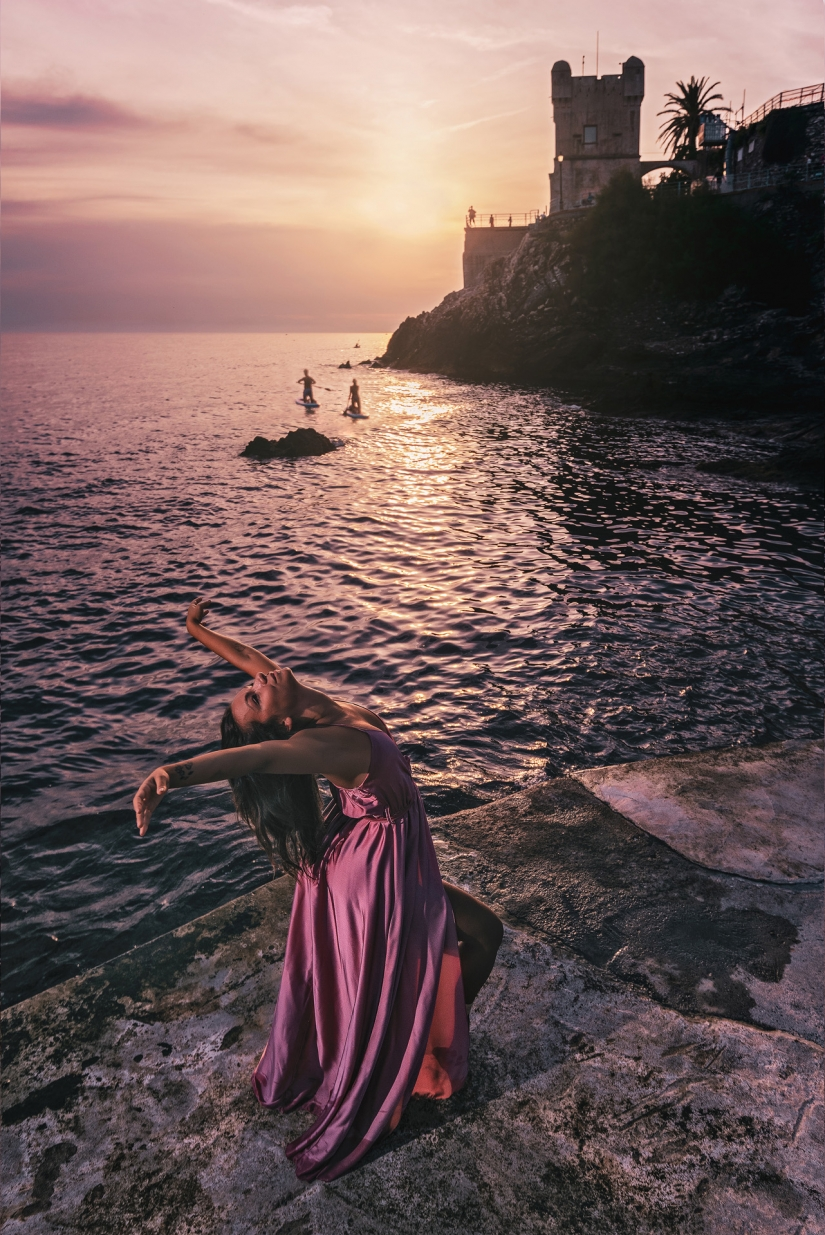 Dancing at the sunset