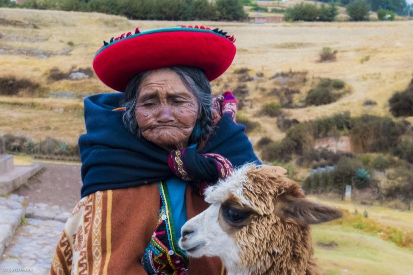 Donna peruviana con Alpaca