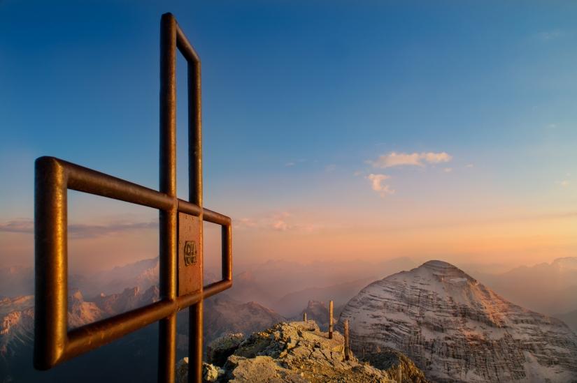 Il tramonto dalla cima della Tofana di Mezzo
