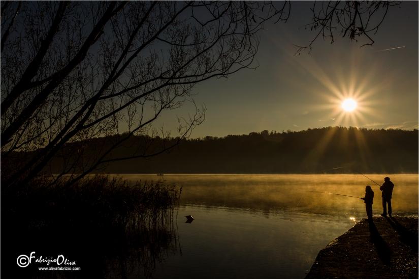L'alba sul lago di alserio
