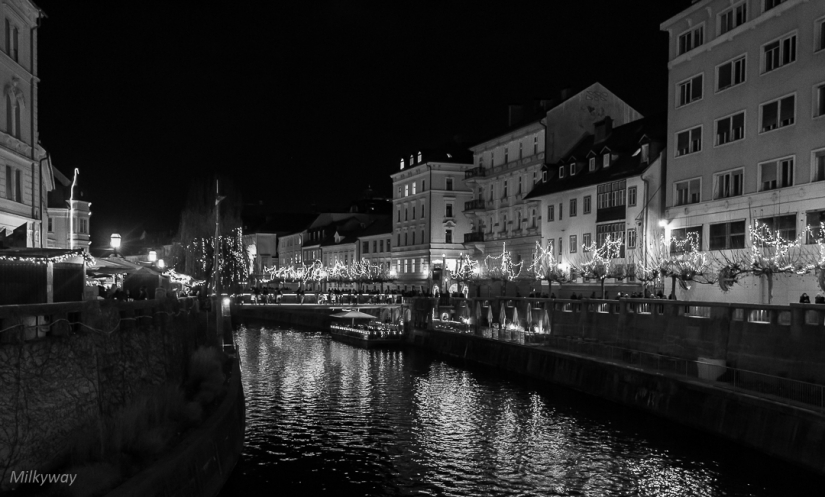 Ljubljana at night on Christmas time