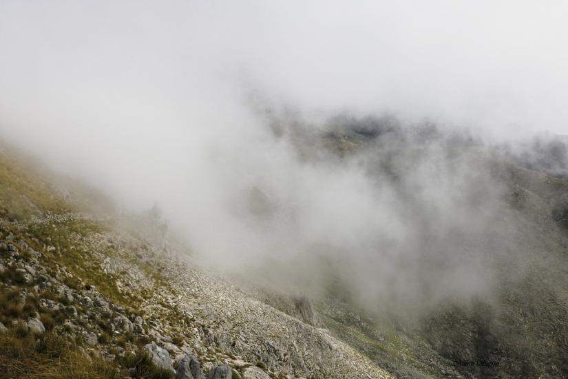 Nebbia tra le montagne