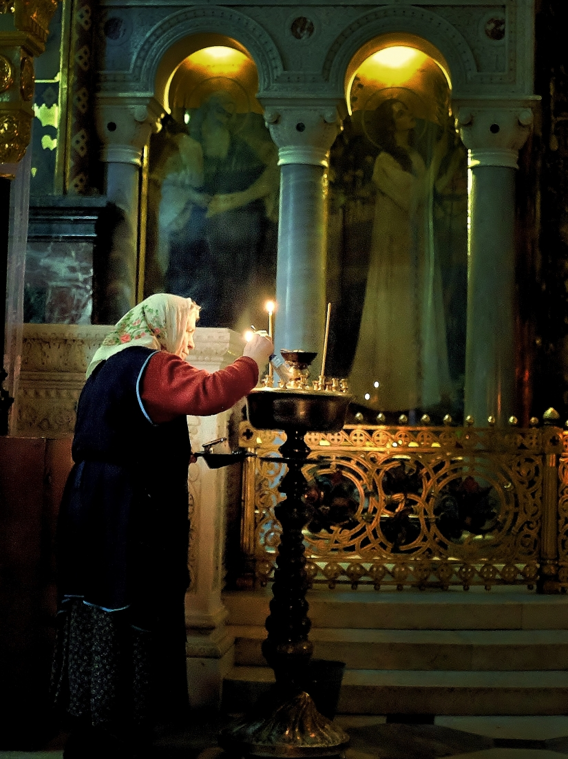 Orthodox color and soul in a Monastery, Ukraine