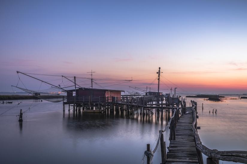 Reti da pesca all'alba
