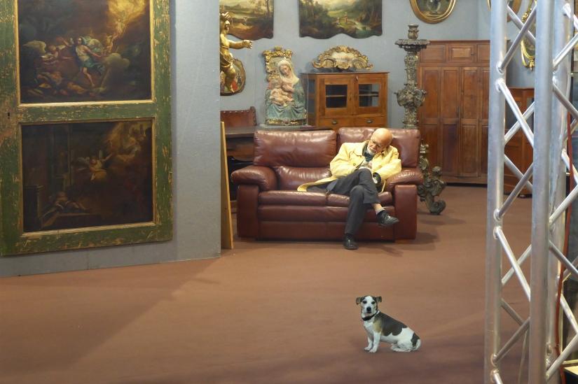 Riposo in fiera con cane