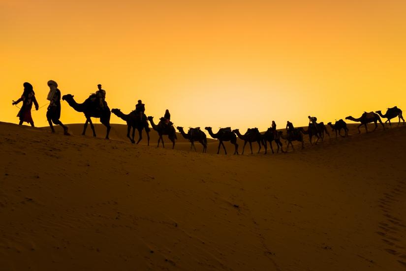 Silhouette nel Sahara.