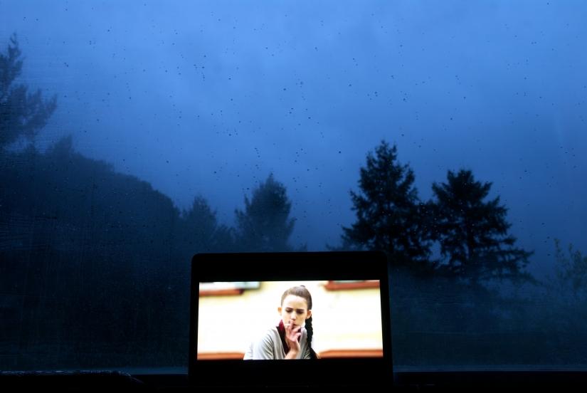 Smoking in the rain