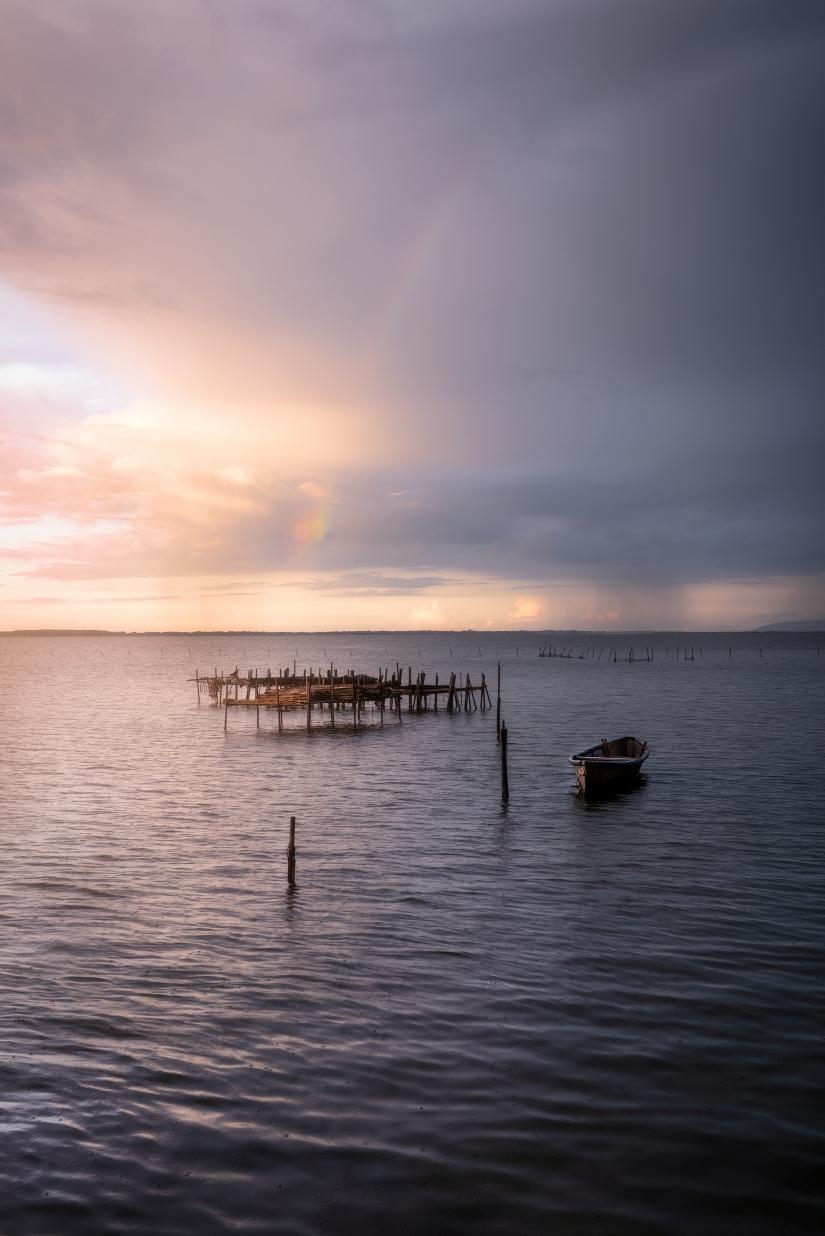 Sole, pioggia e arcobaleno...  Lago di Lesina - Puglia