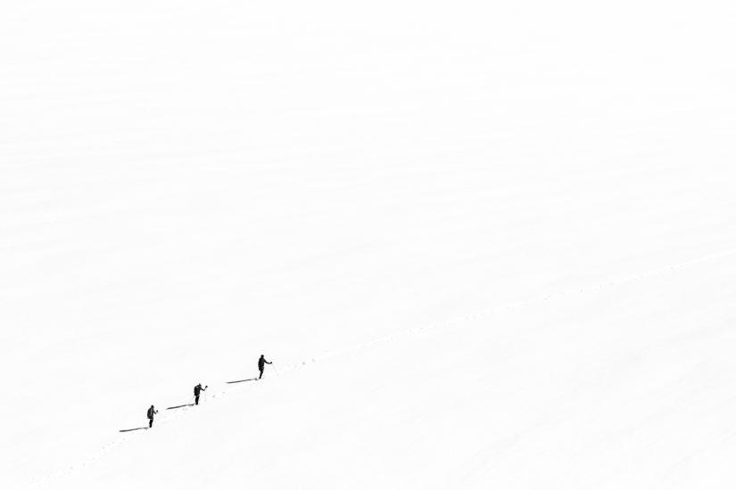 Tre uomini e una corda sui ghiacciai del Bianco