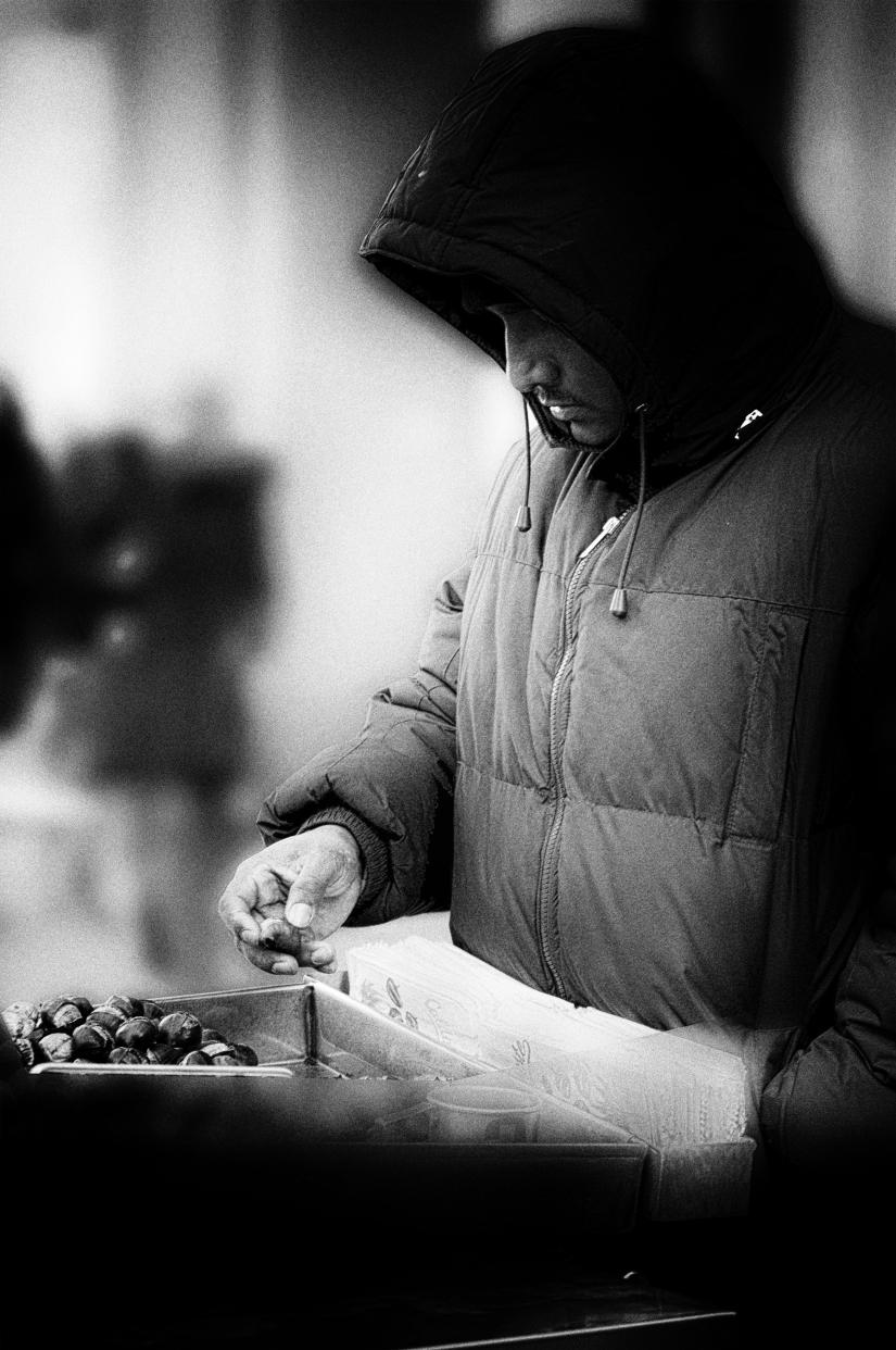 Venditore di castagne