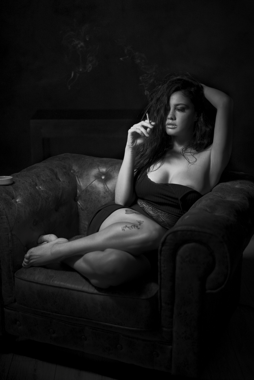 Woman and cigarette